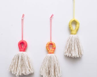 Wrapped neon tassel wall hanging