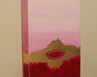 Pink & Gold - Acrylic Original Painting - 12x24x1.5