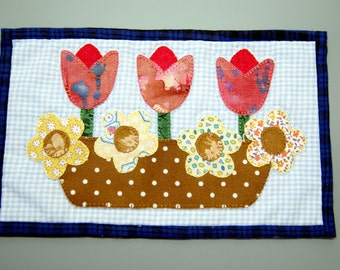 """Spring Basket of Flowers Mug Rug (9"""" x 5.5"""") ~ Hand Appliqued ~ Machine Quilted ~ Mini Quilt ~ Coaster ~ Place Mat ~ Candle Mat ~ Table Mat"""