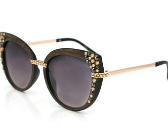 Bling Custom Brown Wood look Sunglasses w/ Swarovski Crystals