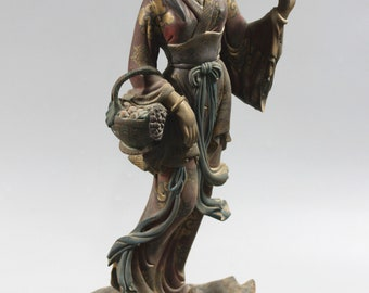 "Collectable Camphorwood Folk Hand Craft Ancient Beauty 32.5cm/12.8"" Tall Statue-Mineral Color Painted Figurines M86"