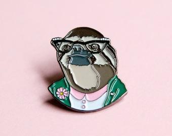 Enamel Pin - Sloth Lady - Ryan Berkley Illustration - Pin