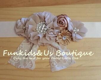 Rustic Bridal Sash- Vintage inspired bridal sash/flowergirl - Blush Bridesmaid belt