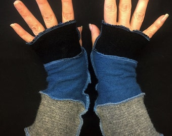 Upcycled Pixie Blue Black & Grey Cashmere and Wool Fingerless Gloves Arm Warmers Armwarmers Recycled Sweater Wristwarmers Repurposed Texting