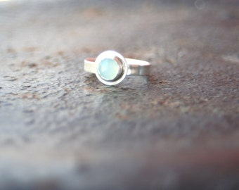 Bezel Set Rose Cut Chalcedony Aqua Blue Comfort Fit Round Band Sterling Silver Ring Size 5