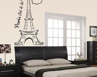 Paris Eiffel Tower Vinyl Wall Decal Or Car Sticker - eitooohlalapET