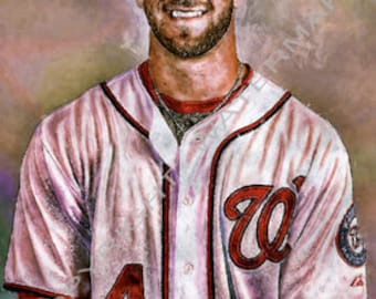 Bryce Harper Washington Nationals Portrait Art Print sn ony 50 Rare