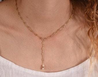 Wedding Necklace,  Bride Necklace,  Bridesmaid  necklace,  Gold Layering Necklace,  Delicate White Pearl necklace,  Minimal Bridal Jewelry