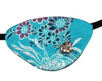 Butterfly Jewel Eye Patch Blue Steampunk Pirate Fashion Fantasy Rhinestone