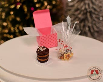 Miniature Cake & Cookies - Chocolate, Miniature Cake and Cookies, 1:12 Scale Dollhouse Desserts