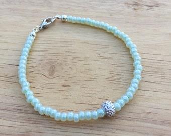 Mint Green Beaded Bracelet, Turquoise Bracelet, Seafoam Green Bracelet, Teal Bracelet, Teal Jewelry, Teal Bangle, Aqua Minimalist Bracelet