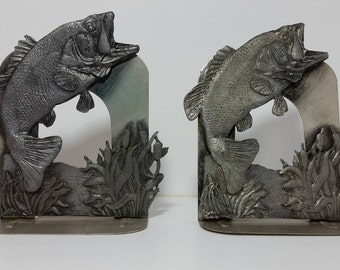 Set of 2 Limited Edition Vintage Collectible Sportsman Pewter and Brass Leaping Large Mouth Bass Book Ends by Metzke