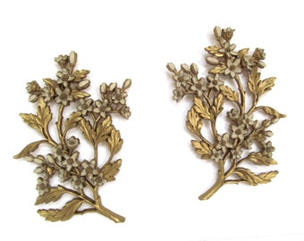 mid century flowering branch wall hanging pair, syroco 1960s dogwood branches