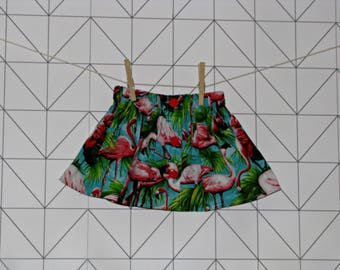 Flamingo patterned cotton baby and toddler skirt