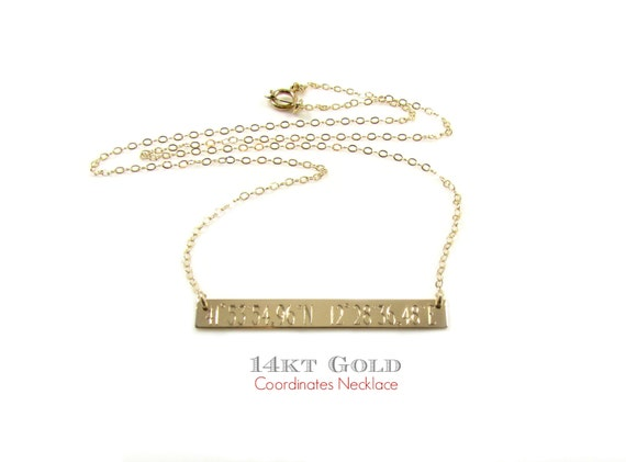 14K Solid Gold GPS COORDINATES Necklace Engraved Gold Bar