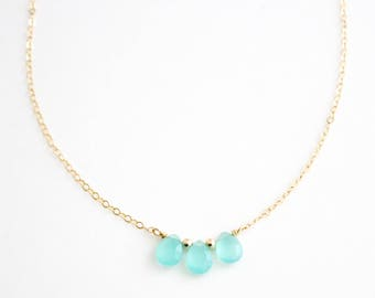 Simple Trio of Aqua Chalcedony Gemstones, Layering, Dainty, Handmade, 14k Gold Filled, Simply Me Jewelry Ocean Droplets Necklace, SMJNK429
