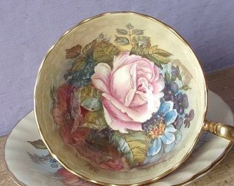 Antique English Bone China tea cup, Aynsley JA Bailey tea cup and saucer, hand painted tea cup, English tea cup, pink rose tea cup