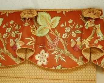 "Custom Made Valance BLOSSOM Hidden Rod Pocket® Valance fits 47""- 66"" window, Your fabrics, my LABOR and Lining"