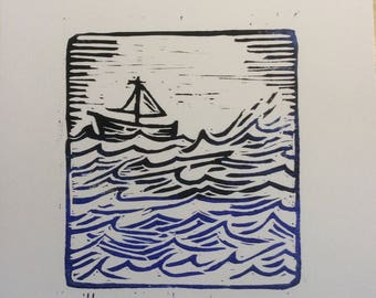 Tidal Race. An original, limited edition linocut print of a small boat