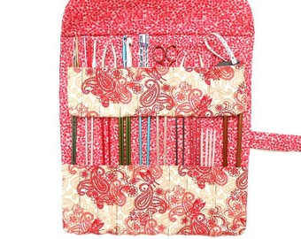 Maroon Paisley Knitting Needle Roll, Straight Needle Case, DPN Holder, Crochet Hook Storage, Gift For Knitters, Needle Keeper, 17 Pockets