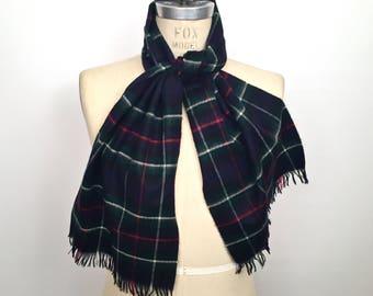 """Vintage Cashmere Tartan Scarf / authentic Scottish """"Mackenzie"""" plaid pattern wool muffler"""