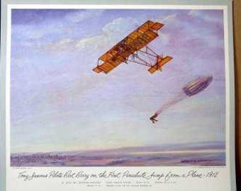 1912 First Parachute Jump from Plane Bert Berry Tony Jannus Parachuting