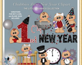 Baby Clipart, Chubbies First New Year