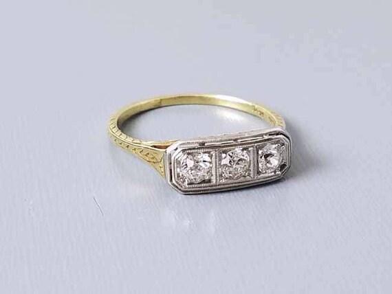 Antique  vintage Art Deco 14k & platinum filigree 3 diamond anniversary wedding engagement ring .30 carat / three stone / 3 stone / size 8.5