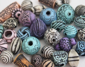 35 faux ancient tribal colourful plastic beads