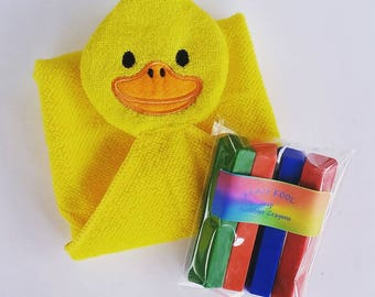 Bath Crayons, Soap Crayons, Bath Puppet, Bath Mitt, Duck Soap, Yellow, Child's Soap, Gift, Water Toy, Kid Soap, Washcloth, Washable Crayons