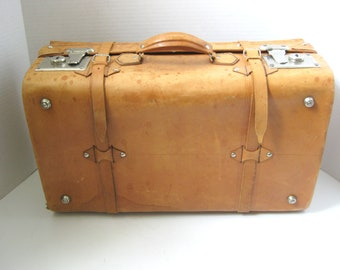 Vintage Leather Briefcase Suitcase Luggage Travel