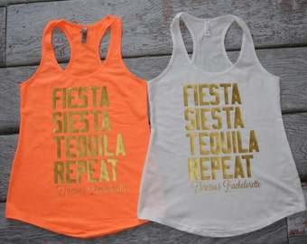 Fiesta Siesta Tequila Repeat Bachelorette tanks Bridal Party tank top Mexican Spanish