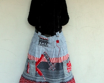 M-L sweater cotton boro  patchwork appliqued recycled under knee skirt hippie boho style