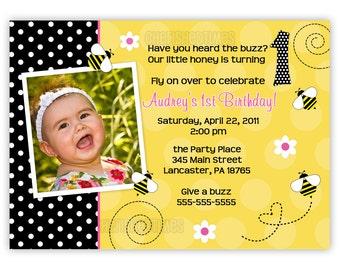 Custom Bumble Bee Birthday Photo Card Invitation (You Print)