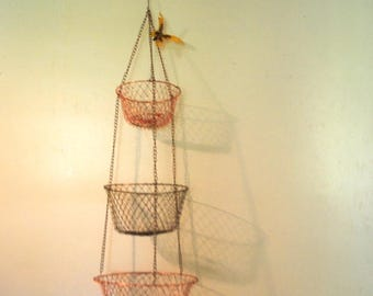 Retro vintage 70s, mixed metal , wire, mesh, three tieres, hanging, storage baskets.