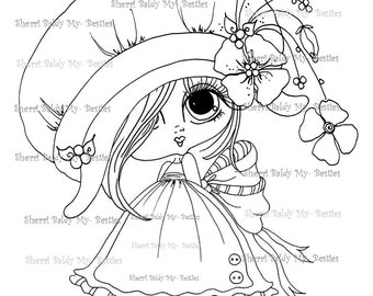 INSTANT DOWNLOAD Digital Digi Stamps Big Eye Big Head Dolls Digi  My - Besties Blakely Ann Flower Hat Bestie By Sherri Baldy