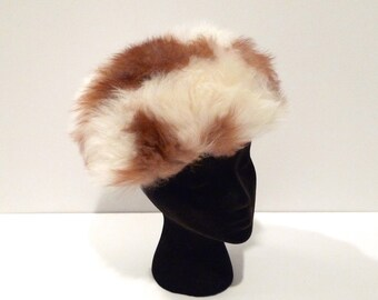Cream and Brown Fur Hat Vintage Fluffy Fur Pill Box Hat Snow Bunny Cap Fluffy Winter Hat 1960s 1950s Shearling Lining Glam Ski Lodge