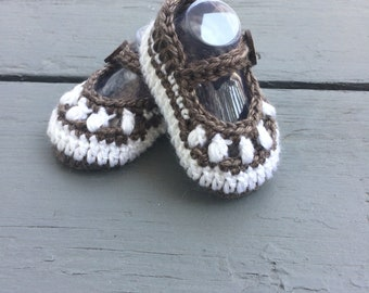 Hand Crocheted Mary Janes, Chocolate Baby Booties, Baby Sandals, Toddler Sandals, Baby Girl, Toddler Girl