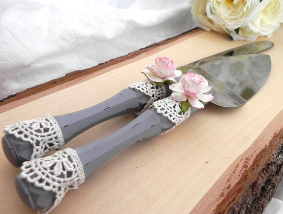 Shabby Chic Wedding Cake Server and Knife Set, Pink, Grey and White, Bridal Shower, Baby Shower, Wedding Gift