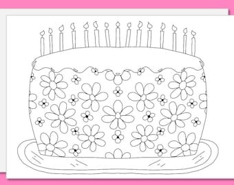 Cake coloring card etsy color your own card greeting card ready for your unique coloring birthday cake bookmarktalkfo Choice Image
