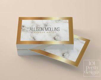 Marble business card white and gold business card gold foil marble business card white and gold business card custom business card design printable business card cheaphphosting Images
