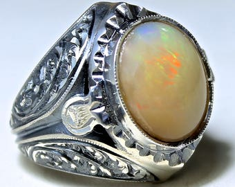 925 Sterling Silver Ring with Australian Opal Unique handcrafted Mens Jewelry