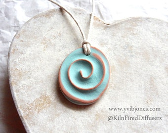 Spiral of Life Aromatherapy Essential Oil Diffuser Yoga NECKLACE Turquoise Swirl Design Adjustable Terracotta Necklace