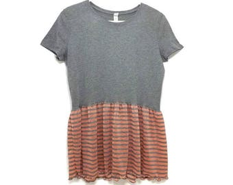 Womens Upcycled Gray Crop T-shirt Tunic Neon Orange and Gray Stripe Ruffle / Ready to ship