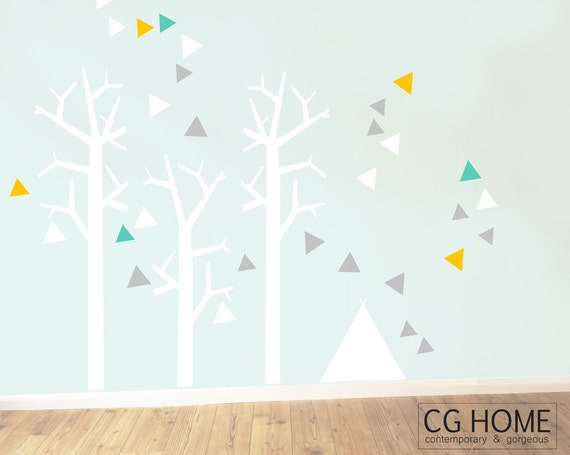 Nursery Wall Decals Woodland Wallsticker Tree for kids Toddlers Baby Room tipi teepee FOREST triangle removable Baby Room Decals