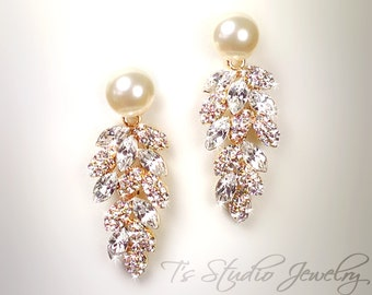 Gold Pearl Bridal Chandelier Wedding Earrings - CZ Cubic Zirconia Crystal with Ivory or White Pearls - Silver or Gold Base - CAROLYN