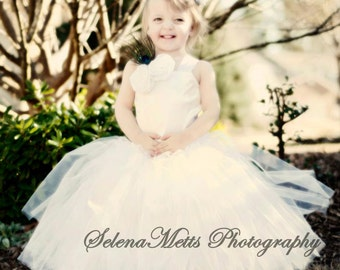 Flower Girl Tutu Dress Floor Length Sewn Tutu Dress White with Satin Corset and Satin Flower Hair Clip CUSTOMIZABLE