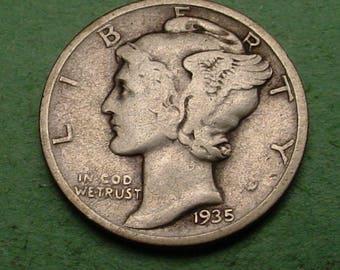 1935-D  Mercury Dime Very Good / Fine   FREE SH In United States # ET359