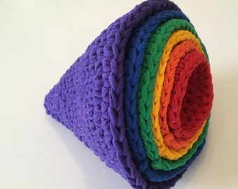 roygbiv montessori inspired nesting cones made from upcycled t-shirt yarn by yourmomdesigns