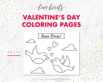 Valentine's Day Coloring Pages - Love Birds - Adult Coloring - Kid Coloring - Elderly Coloring - Printable Coloring Pages - Coloring Book